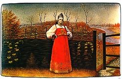 "Box  ""Boyar's daughter at a wattle fence"""